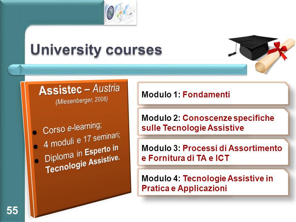 University courses 55 Modulo 1: Fondamenti Modulo 2: Conoscenze specifiche sulle Tecnologie Assistive Modulo 3: Processi di Assortimento e Fornitura d