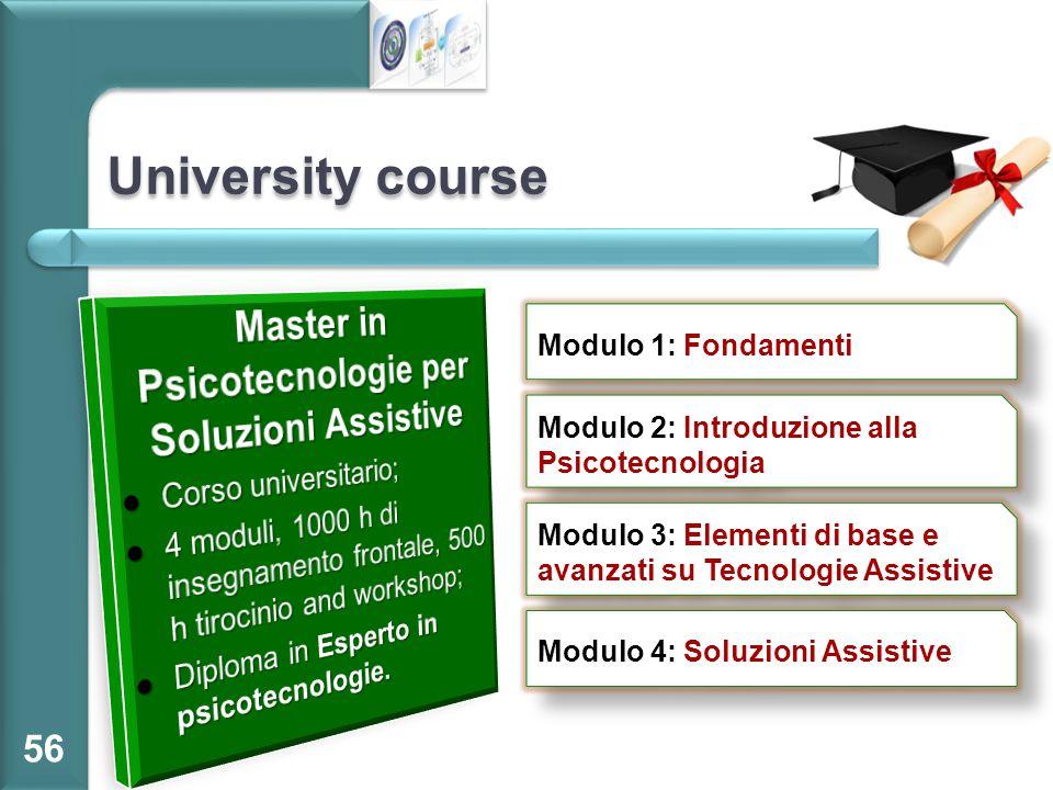 University course 56 Modulo 1: Fondamenti Modulo 2: Introduzione alla Psicotecnologia Modulo 3: Elementi di base e avanzati su Tecnologie Assistive Mo
