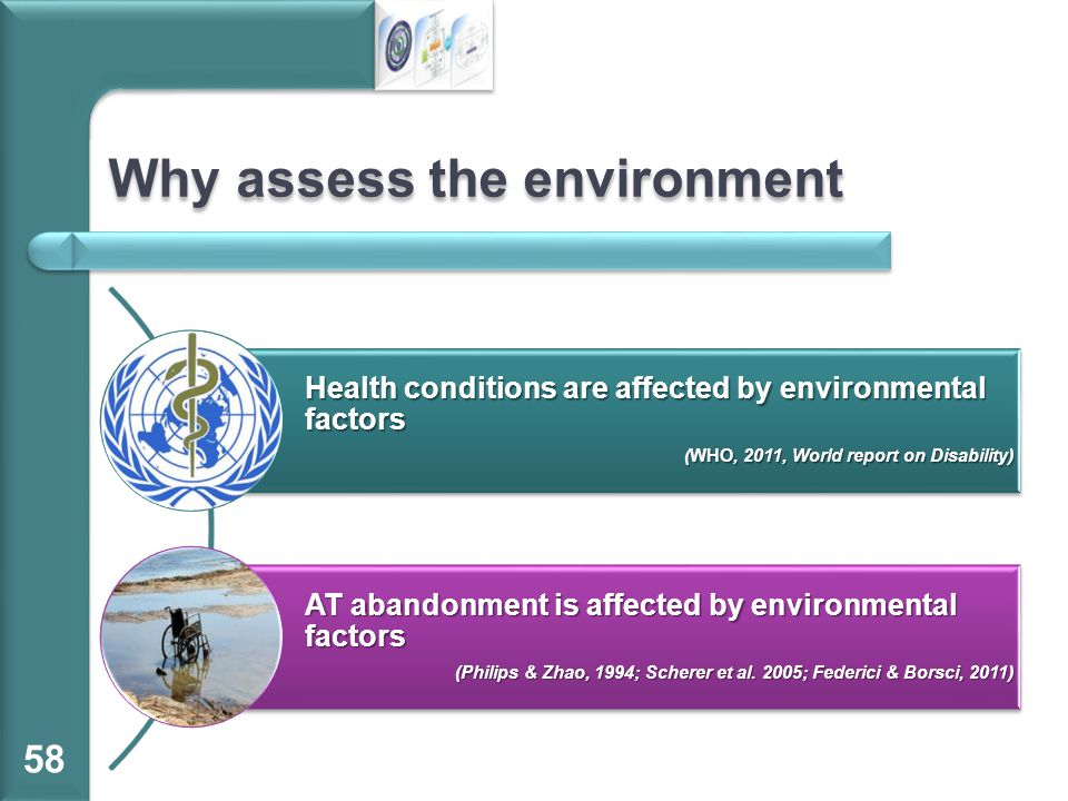 Why assess the environment Health conditions are affected by environmental factors (WHO, 2011, World report on Disability) AT abandonment is affected by environmental factors (Philips & Zhao, 1994; Scherer et al.