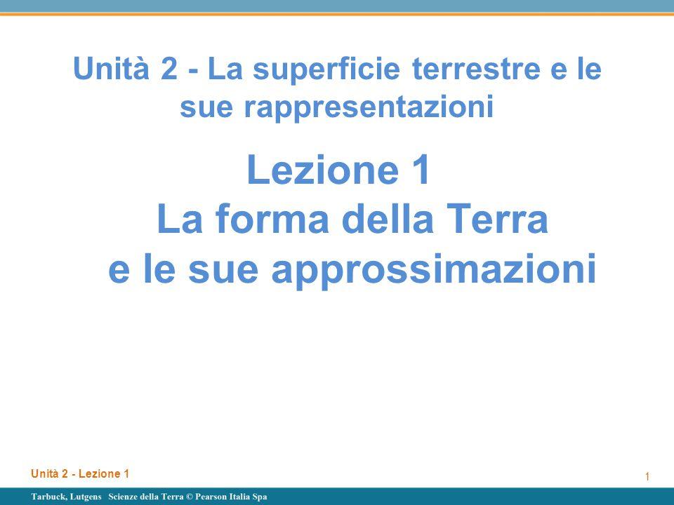 Unità 2 - Lezione 1 1 Unità 2 - La superficie terrestre e le sue rappresentazioni Lezione 1 La forma della Terra e le sue approssimazioni