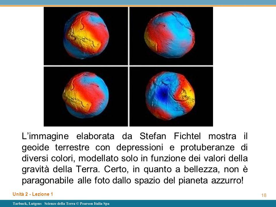 L'immagine elaborata da Stefan Fichtel mostra il geoide terrestre con depressioni e protuberanze di diversi colori, modellato solo in funzione dei val