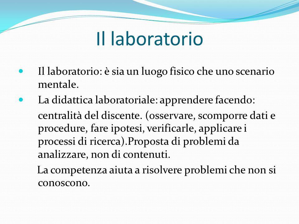 Il laboratorio Il laboratorio: è sia un luogo fisico che uno scenario mentale.