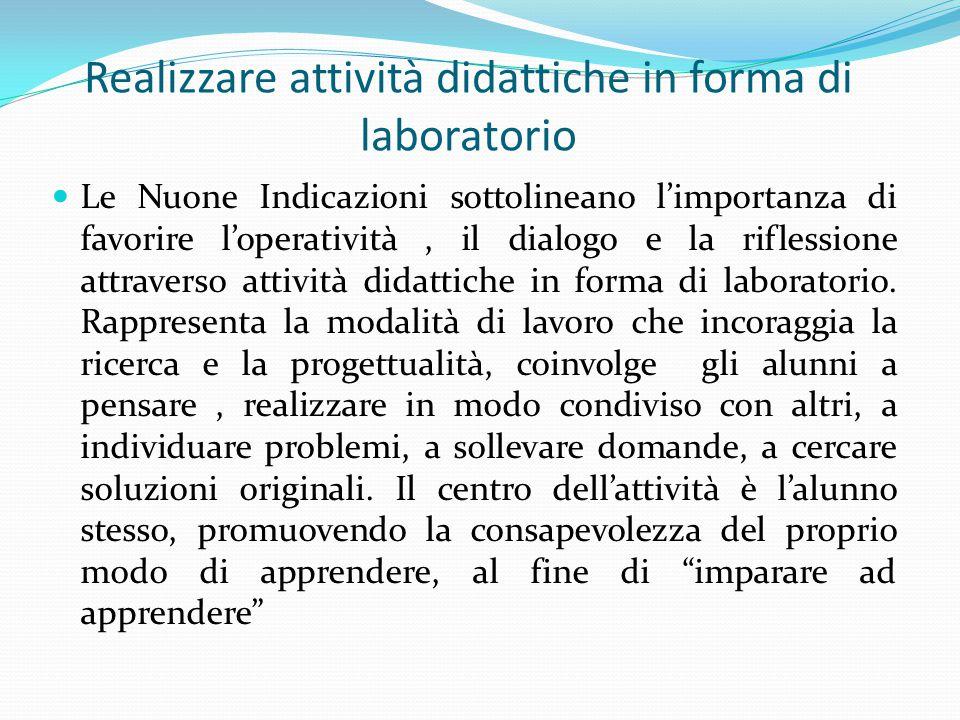 Le Nuone Indicazioni sottolineano l'importanza di favorire l'operatività, il dialogo e la riflessione attraverso attività didattiche in forma di laboratorio.