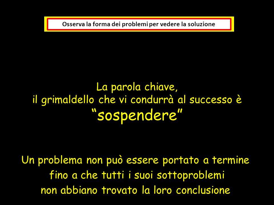 """La parola chiave, il grimaldello che vi condurrà al successo è """"sospendere"""" Osserva la forma dei problemi per vedere la soluzione Un problema non può"""