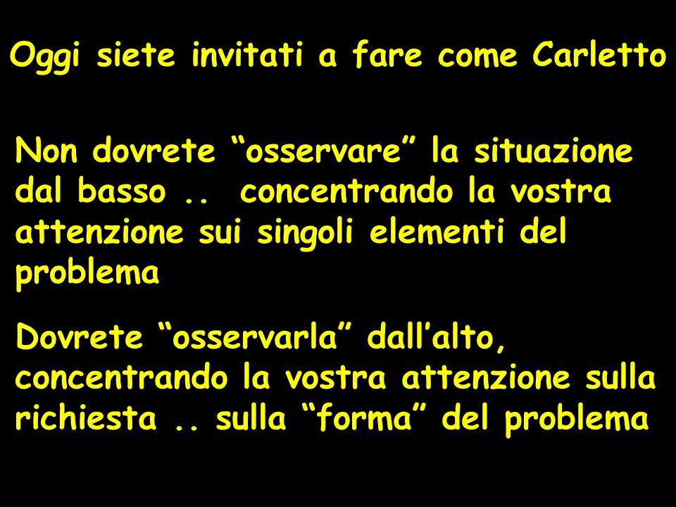 Oggi siete invitati a fare come Carletto Non dovrete osservare la situazione dal basso..