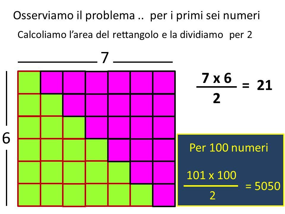 Calcoliamo l'area del rettangolo e la dividiamo per 2 7 6 7 x 6 2 = 21 Per 100 numeri 101 x 100 2 = 5050