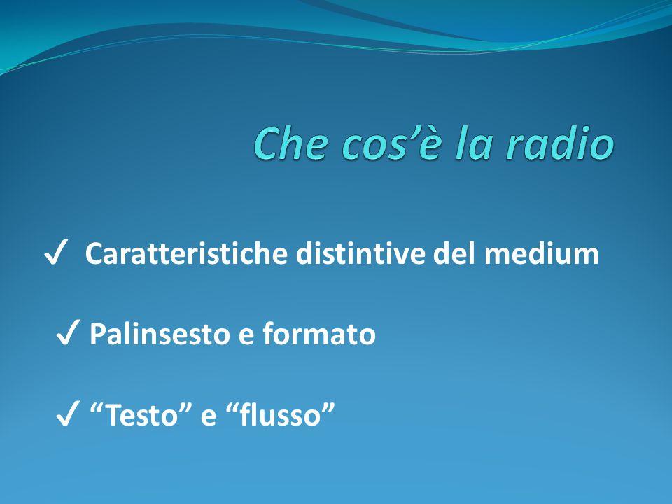 """✔ Caratteristiche distintive del medium ✔ Palinsesto e formato ✔ """"Testo"""" e """"flusso"""""""
