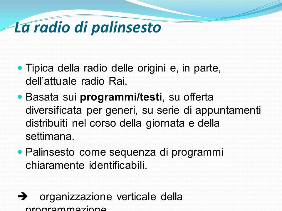 La radio di palinsesto Tipica della radio delle origini e, in parte, dell'attuale radio Rai. Basata sui programmi/testi, su offerta diversificata per