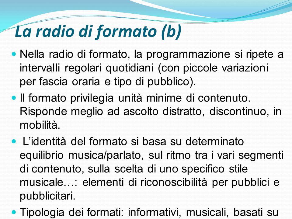 La radio di formato (b) Nella radio di formato, la programmazione si ripete a intervalli regolari quotidiani (con piccole variazioni per fascia oraria