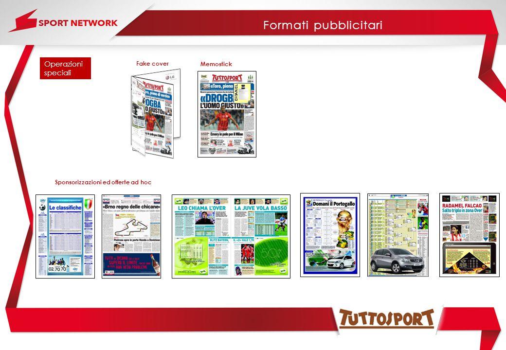 Fake cover Operazioni speciali Memostick Sponsorizzazioni ed offerte ad hoc Formati pubblicitari