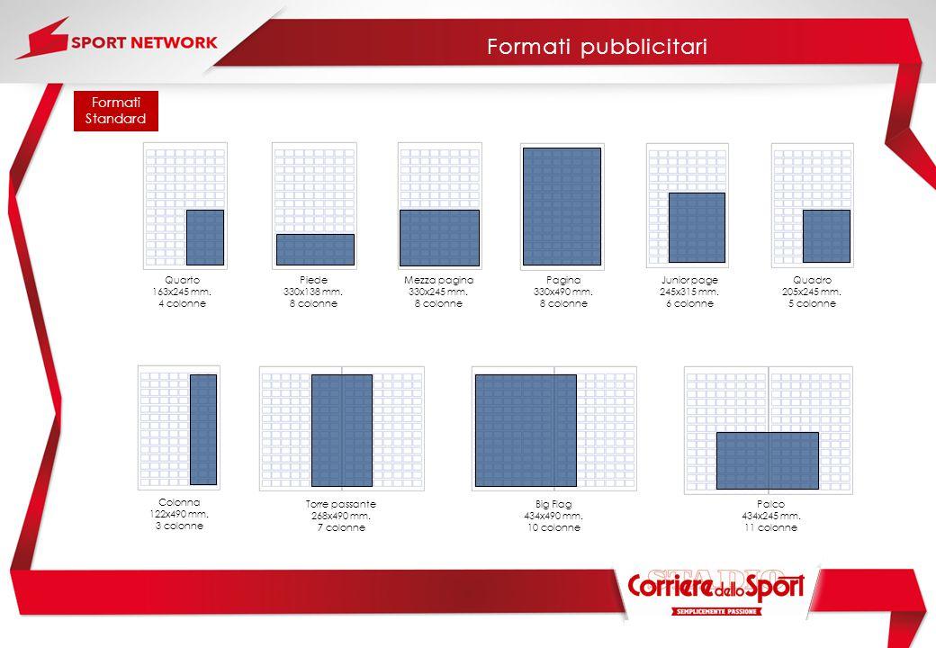 Formati Standard Mezza pagina 330x245 mm. 8 colonne Pagina 330x490 mm. 8 colonne Palco 434x245 mm. 11 colonne Colonna 122x490 mm. 3 colonne Junior pag