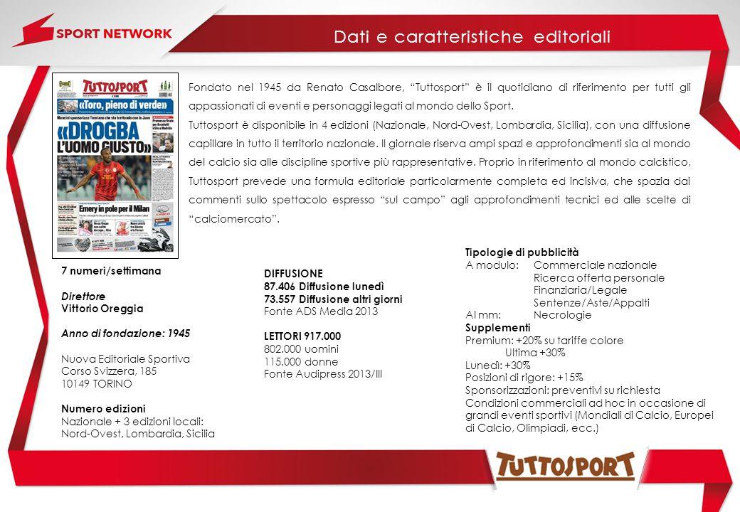 Fondato nel 1945 da Renato Casalbore, Tuttosport è il quotidiano di riferimento per tutti gli appassionati di eventi e personaggi legati al mondo dello Sport.