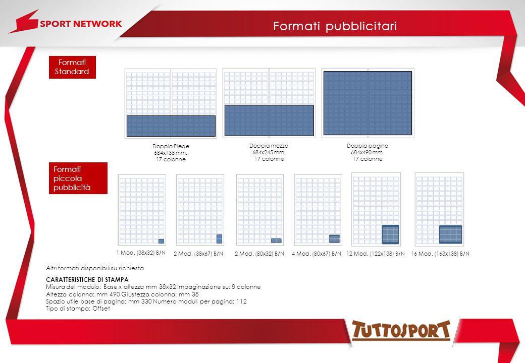 Formati Standard Doppia pagina 684x490 mm. 17 colonne Doppia mezza 684x245 mm. 17 colonne Doppio Piede 684x138 mm. 17 colonne Formati pubblicitari CAR