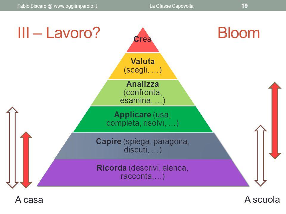 III – Lavoro? Bloom Fabio Biscaro @ www.oggiimparoio.itLa Classe Capovolta 19 Crea Valuta (scegli, …) Analizza (confronta, esamina, …) Applicare (usa,