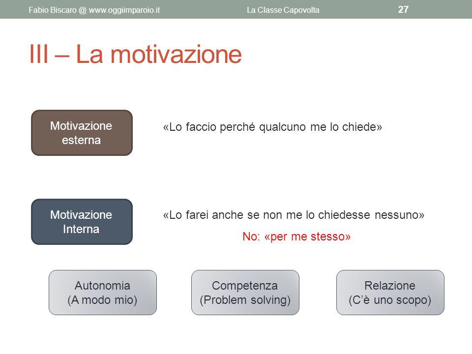 III – La motivazione Fabio Biscaro @ www.oggiimparoio.itLa Classe Capovolta 27 Motivazione esterna Motivazione Interna Relazione (C'è uno scopo) Compe