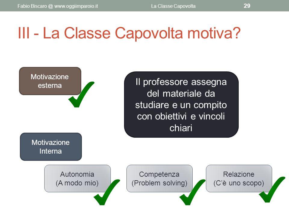 III - La Classe Capovolta motiva? Fabio Biscaro @ www.oggiimparoio.itLa Classe Capovolta 29 Il professore assegna del materiale da studiare e un compi