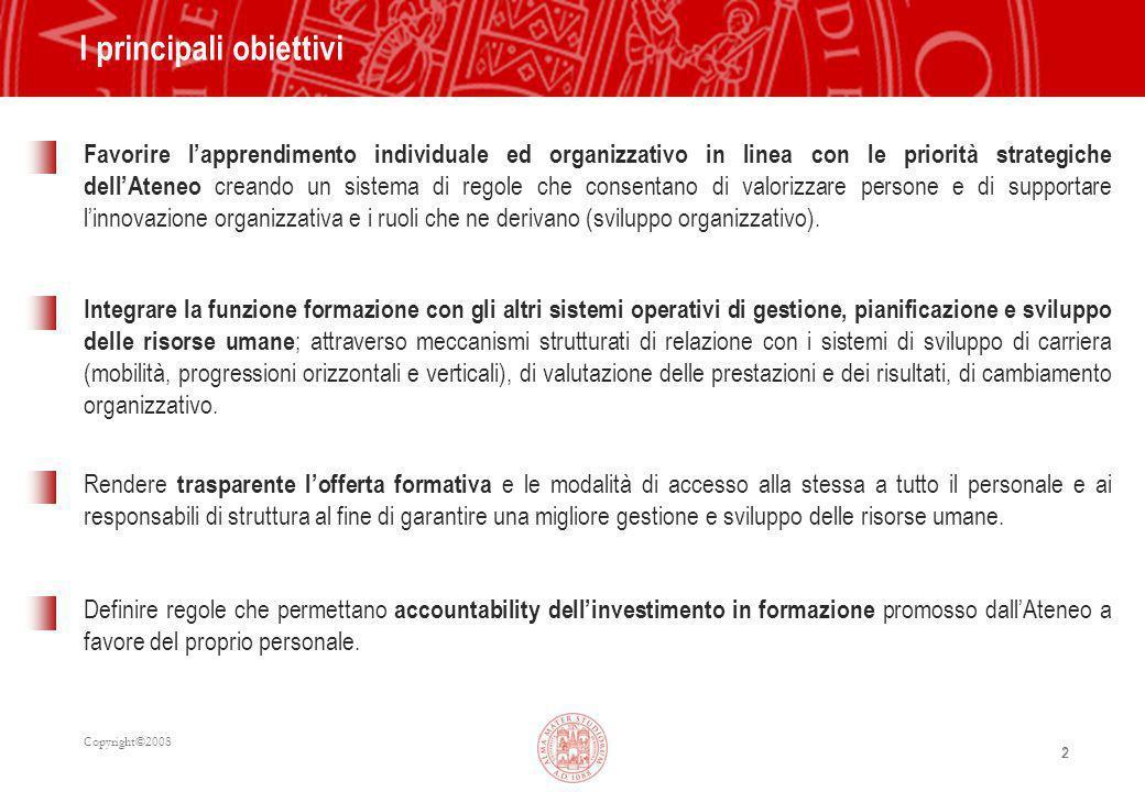 Copyright©2008 2 Favorire l'apprendimento individuale ed organizzativo in linea con le priorità strategiche dell'Ateneo creando un sistema di regole che consentano di valorizzare persone e di supportare l'innovazione organizzativa e i ruoli che ne derivano (sviluppo organizzativo).