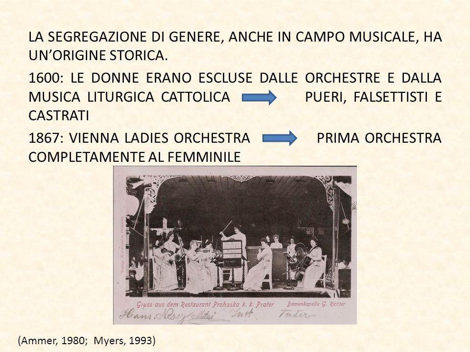 LA SEGREGAZIONE DI GENERE, ANCHE IN CAMPO MUSICALE, HA UN'ORIGINE STORICA. 1600: LE DONNE ERANO ESCLUSE DALLE ORCHESTRE E DALLA MUSICA LITURGICA CATTO
