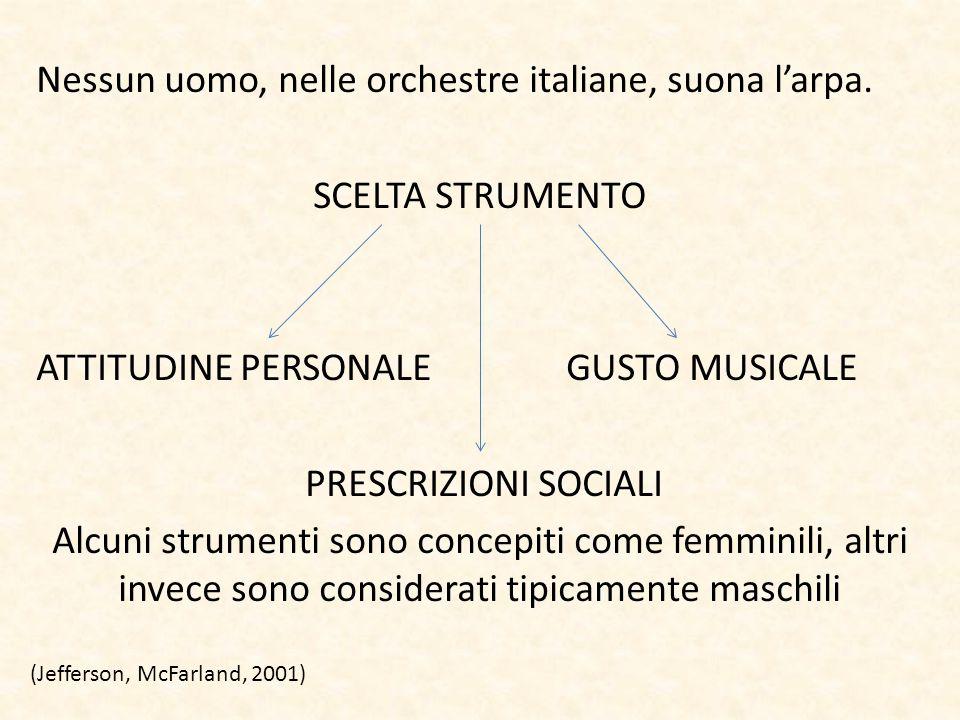 Nessun uomo, nelle orchestre italiane, suona l'arpa. SCELTA STRUMENTO ATTITUDINE PERSONALE GUSTO MUSICALE PRESCRIZIONI SOCIALI Alcuni strumenti sono c