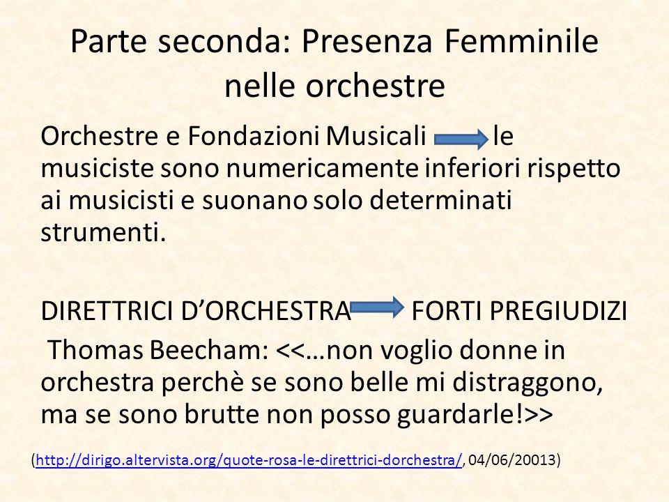 Parte seconda: Presenza Femminile nelle orchestre Orchestre e Fondazioni Musicali le musiciste sono numericamente inferiori rispetto ai musicisti e su