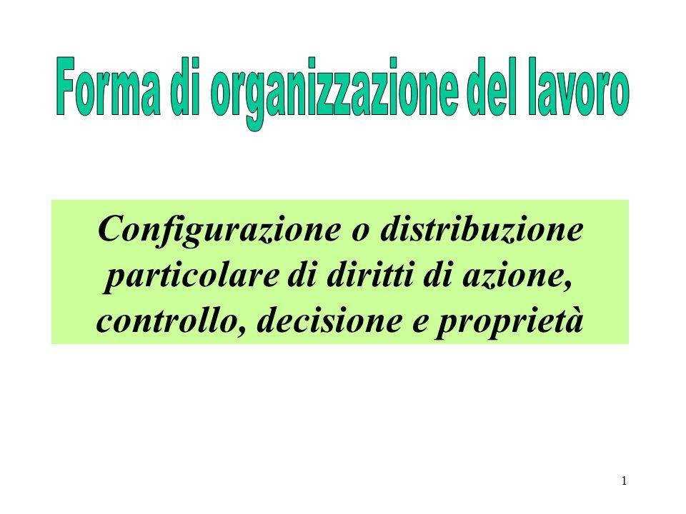 1 Configurazione o distribuzione particolare di diritti di azione, controllo, decisione e proprietà