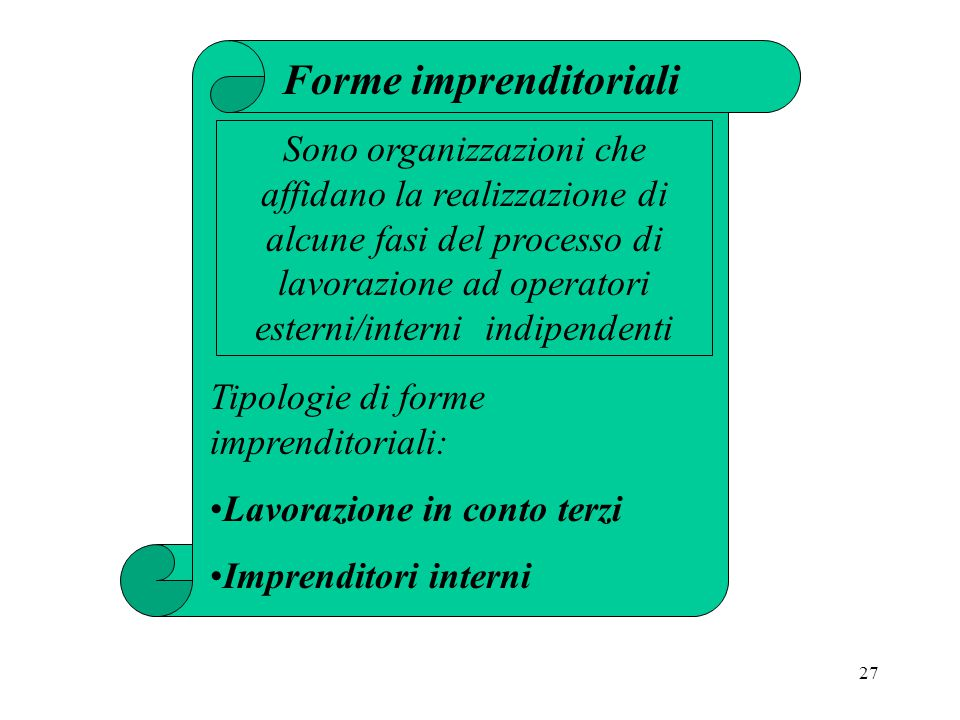 27 Forme imprenditoriali Sono organizzazioni che affidano la realizzazione di alcune fasi del processo di lavorazione ad operatori esterni/interni indipendenti Tipologie di forme imprenditoriali: Lavorazione in conto terzi Imprenditori interni