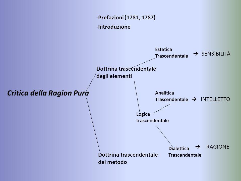 Critica della Ragion Pura -Prefazioni (1781, 1787) -Introduzione Dottrina trascendentale degli elementi Dottrina trascendentale del metodo SENSIBILITÀ