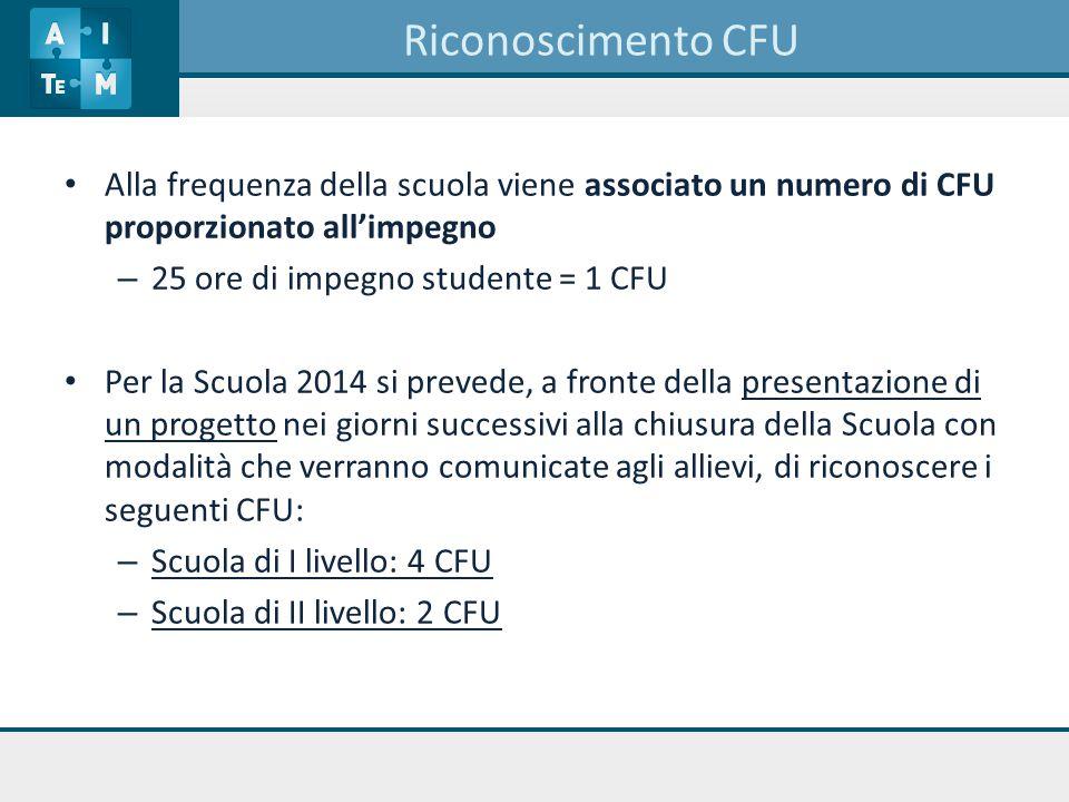 Riconoscimento CFU Alla frequenza della scuola viene associato un numero di CFU proporzionato all'impegno – 25 ore di impegno studente = 1 CFU Per la