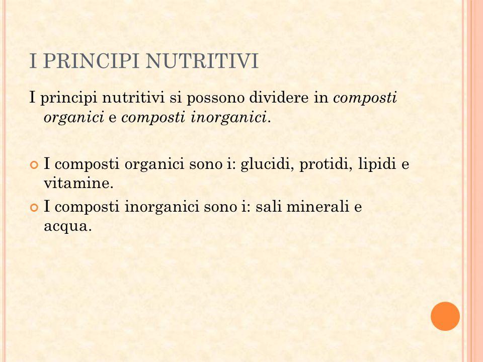 I PRINCIPI NUTRITIVI I principi nutritivi si possono dividere in composti organici e composti inorganici. I composti organici sono i: glucidi, protidi