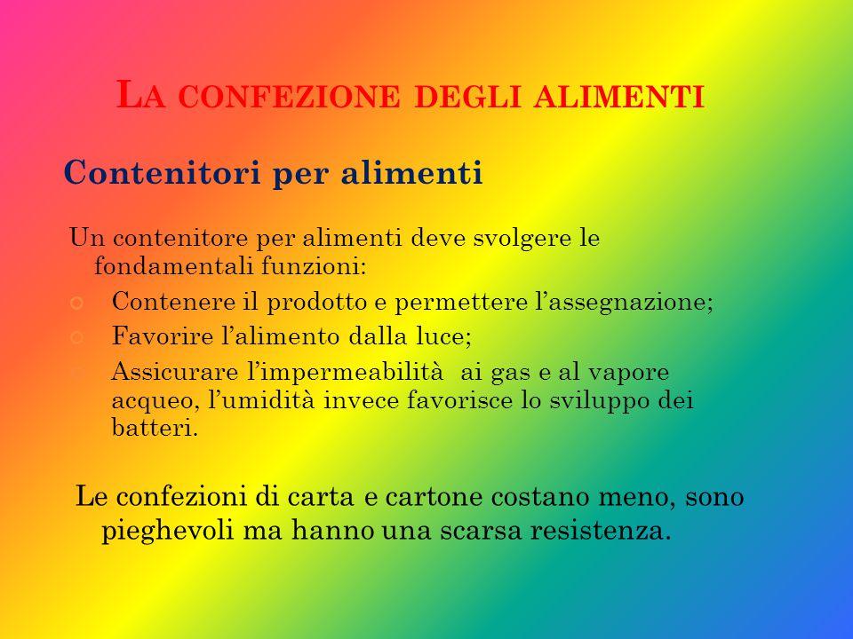 L A CONFEZIONE DEGLI ALIMENTI Un contenitore per alimenti deve svolgere le fondamentali funzioni: Contenere il prodotto e permettere l'assegnazione; F