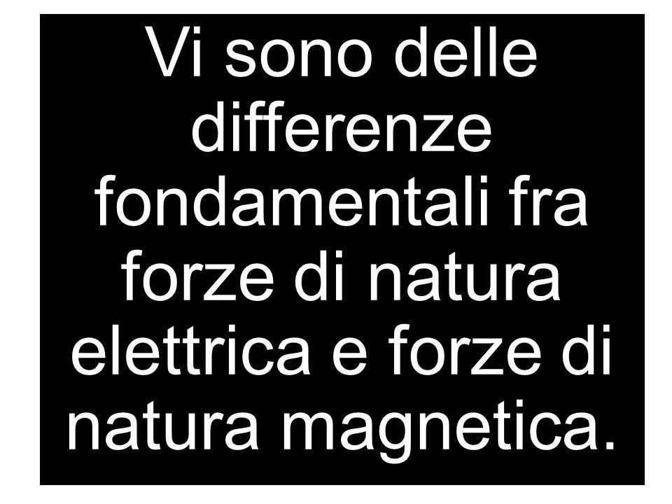 Vi sono delle differenze fondamentali fra forze di natura elettrica e forze di natura magnetica.