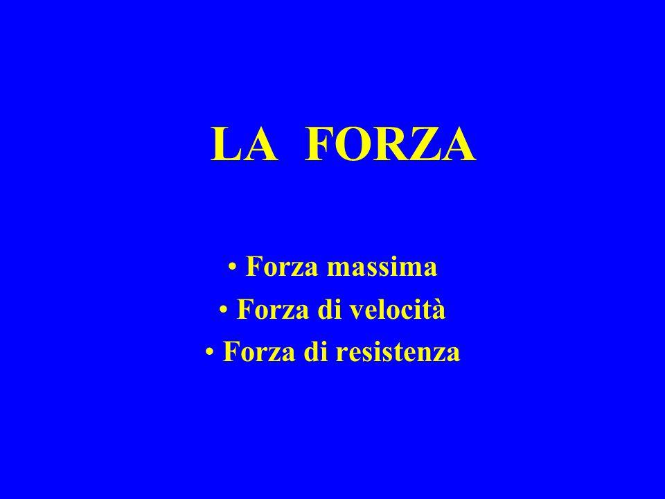 FORZA MASSIMA La forza massima è la massima contrazione, volontariamente eseguibile, di un muscolo.
