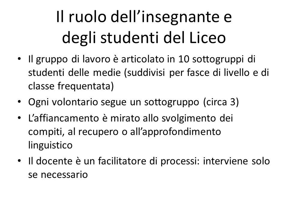 Il ruolo dell'insegnante e degli studenti del Liceo Il gruppo di lavoro è articolato in 10 sottogruppi di studenti delle medie (suddivisi per fasce di