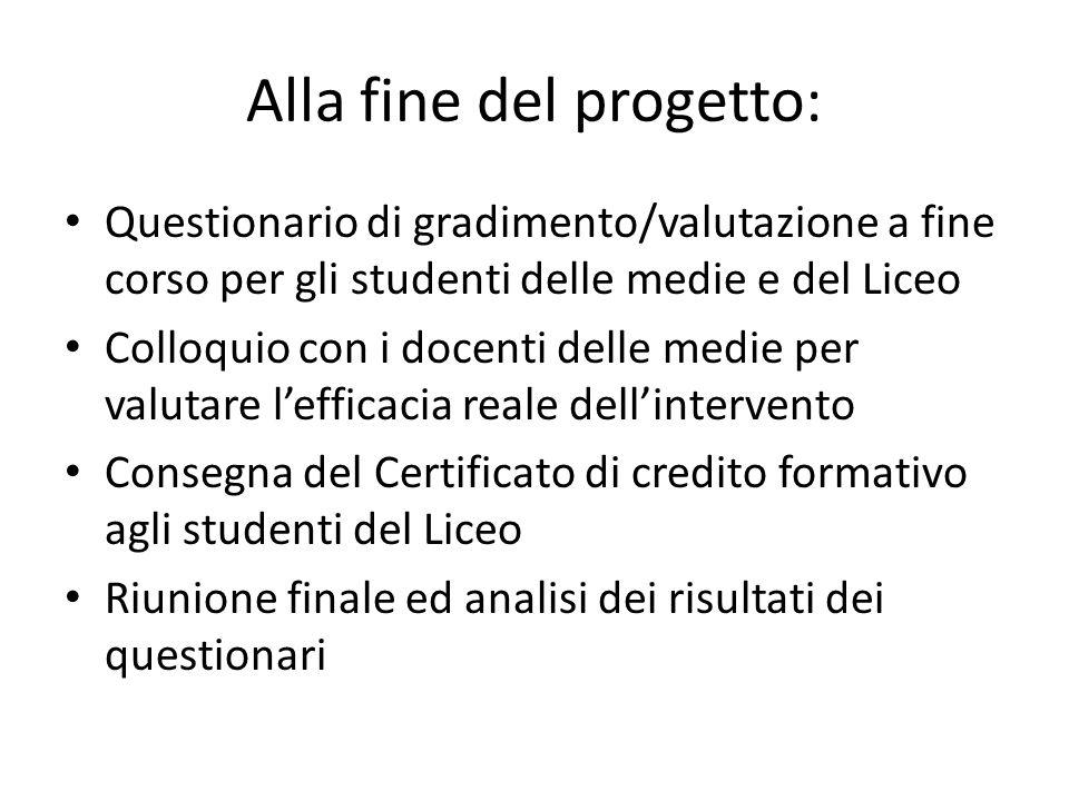 Alla fine del progetto: Questionario di gradimento/valutazione a fine corso per gli studenti delle medie e del Liceo Colloquio con i docenti delle med