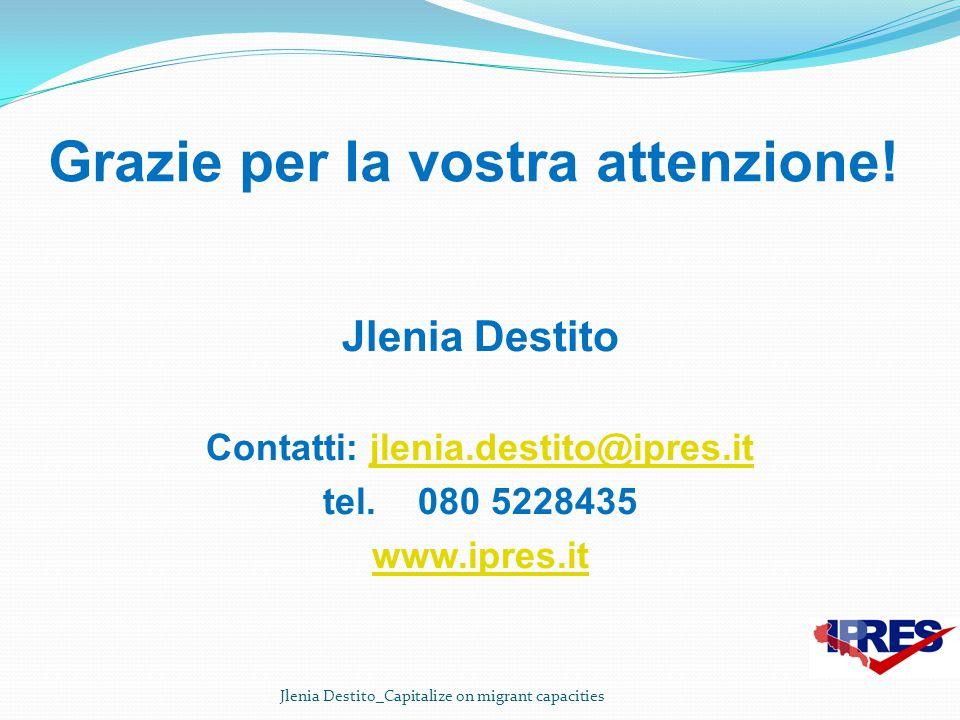 Grazie per la vostra attenzione! Jlenia Destito Contatti: jlenia.destito@ipres.itjlenia.destito@ipres.it tel. 080 5228435 www.ipres.it Jlenia Destito_