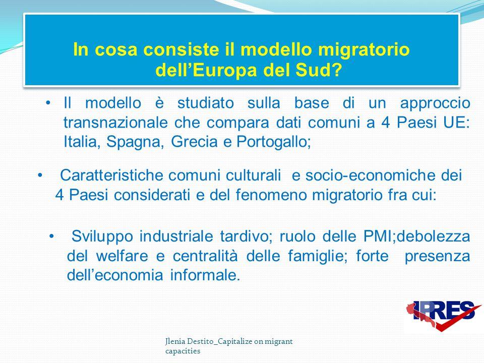 In cosa consiste il modello migratorio dell'Europa del Sud? Jlenia Destito_Capitalize on migrant capacities Caratteristiche comuni culturali e socio-e