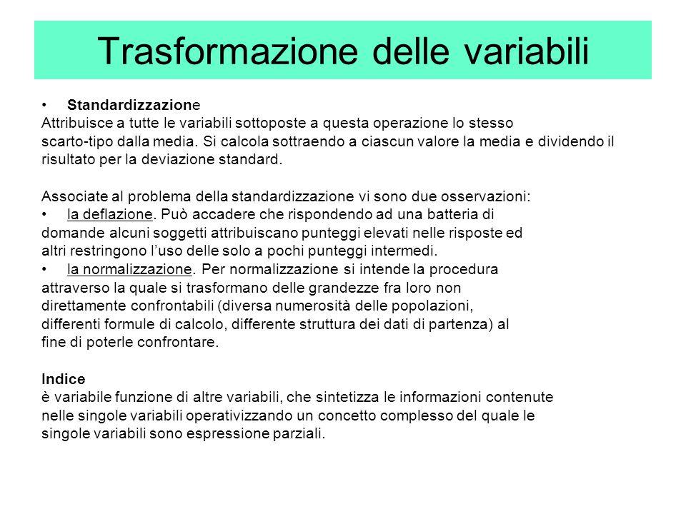Trasformazione delle variabili Standardizzazione Attribuisce a tutte le variabili sottoposte a questa operazione lo stesso scarto-tipo dalla media. Si