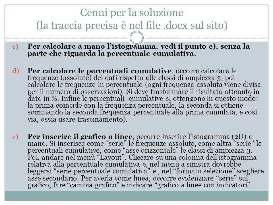 Cenni per la soluzione (la traccia precisa è nel file.docx sul sito) c) Per calcolare a mano l'istogramma, vedi il punto e), senza la parte che riguar