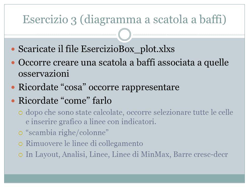 Esercizio 3 (diagramma a scatola a baffi) Scaricate il file EsercizioBox_plot.xlxs Occorre creare una scatola a baffi associata a quelle osservazioni
