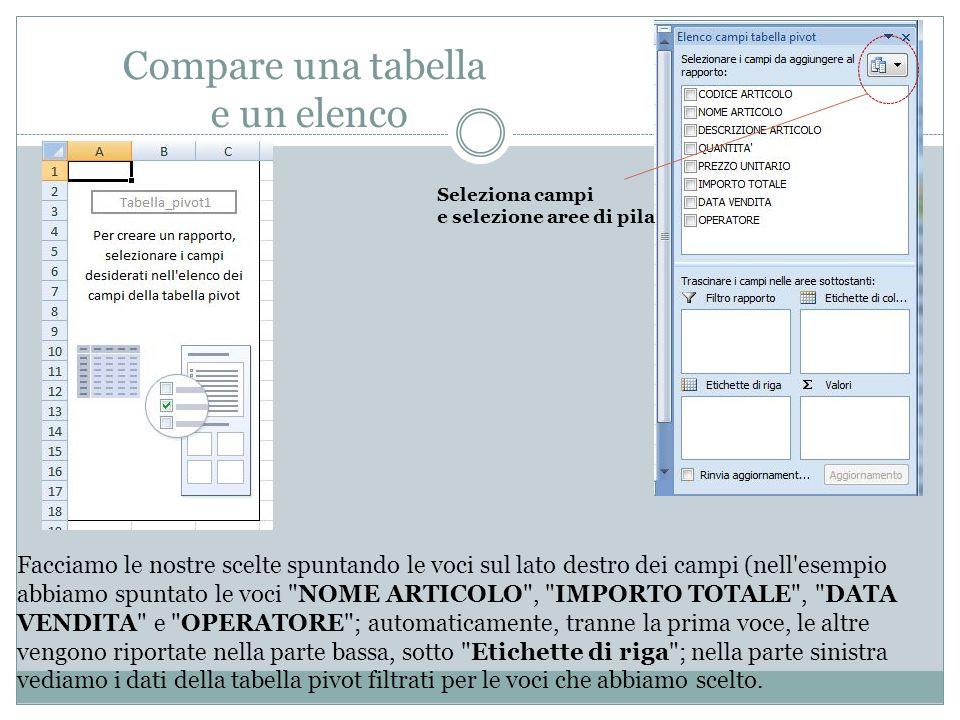 Filtrare dati Nel menù ETICHETTE DI RIGA , scegliamo un campo da filtrare agendo nell elenco a tendina, ad es.