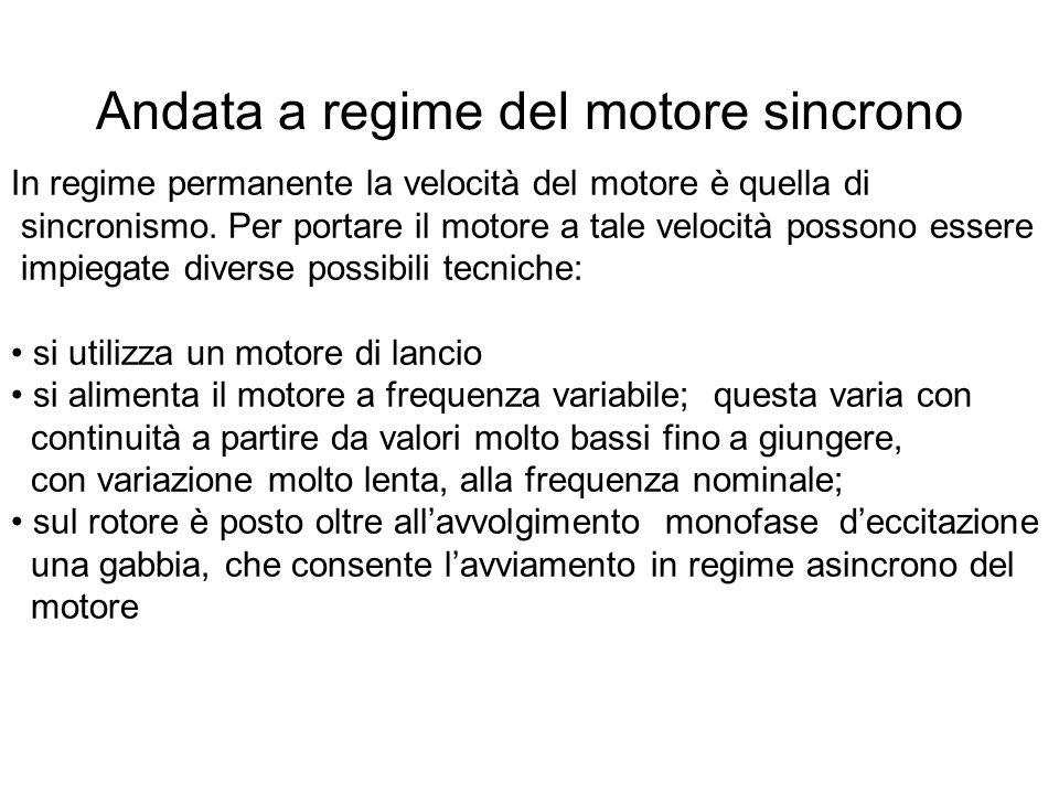 Andata a regime del motore sincrono In regime permanente la velocità del motore è quella di sincronismo. Per portare il motore a tale velocità possono