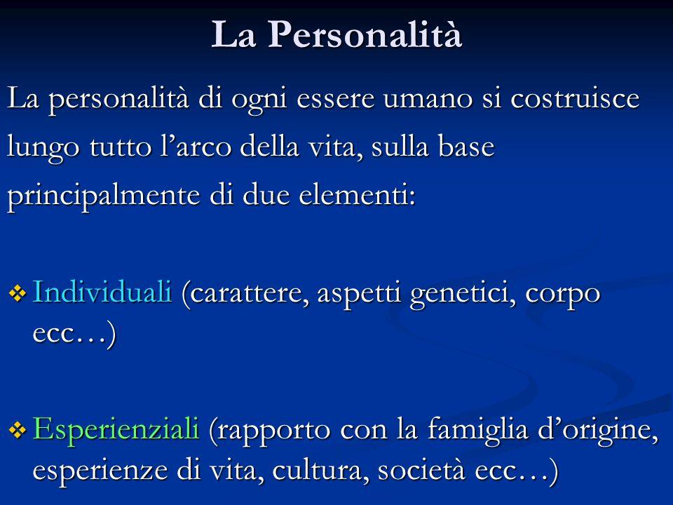 La Personalità La personalità di ogni essere umano si costruisce lungo tutto l'arco della vita, sulla base principalmente di due elementi:  Individua