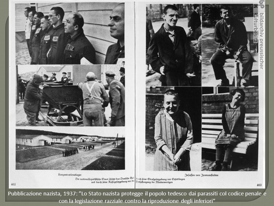 """Pubblicazione nazista, 1937: """"Lo Stato nazista protegge il popolo tedesco dai parassiti col codice penale e con la legislazione razziale contro la rip"""
