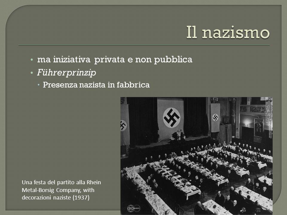 ma iniziativa privata e non pubblica Führerprinzip  Presenza nazista in fabbrica Una festa del partito alla Rhein Metal-Borsig Company, with decorazi