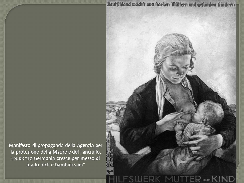 """Manifesto di propaganda della Agenzia per la protezione della Madre e del Fanciullo, 1935: """"La Germania cresce per mezzo di madri forti e bambini sani"""
