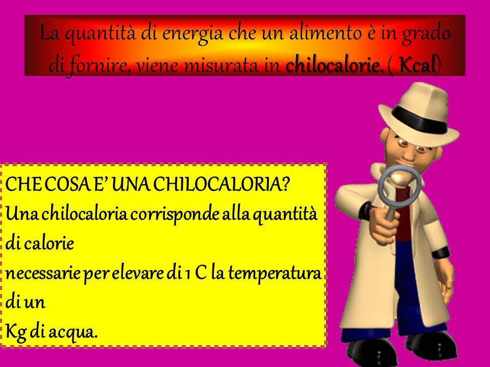 La quantità di energia che un alimento è in grado di fornire, viene misurata in c cc chilocalorie. ( K KK Kcal) CHE COSA E' UNA CHILOCALORIA? Una chil