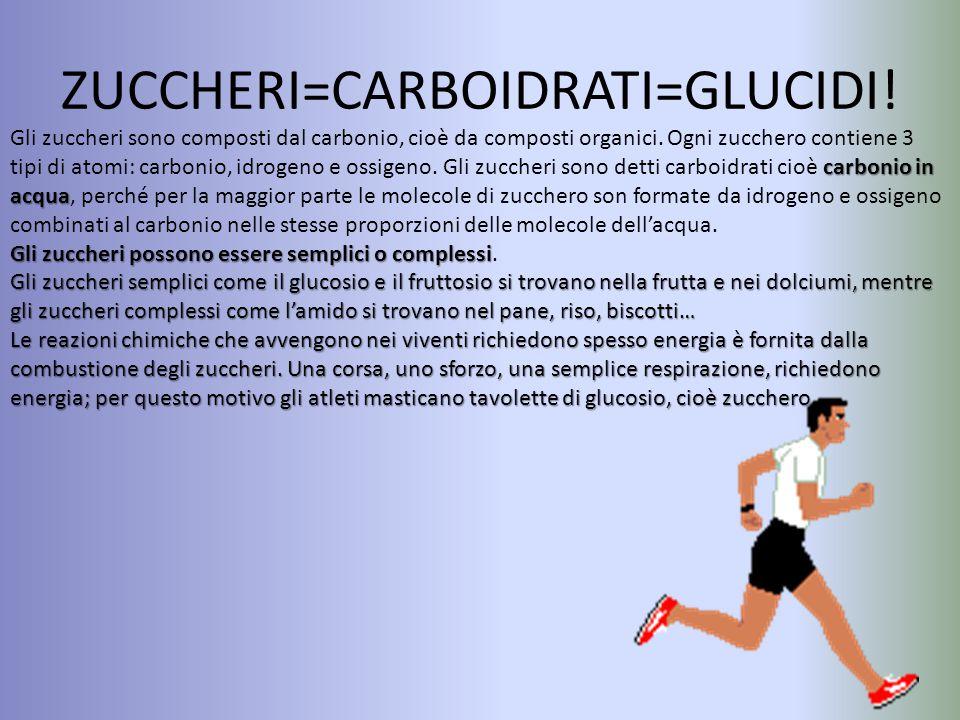 ZUCCHERI=CARBOIDRATI=GLUCIDI! carbonio in acqua Gli zuccheri sono composti dal carbonio, cioè da composti organici. Ogni zucchero contiene 3 tipi di a