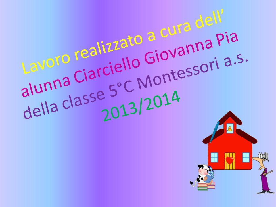 Lavoro realizzato a cura dell' alunna Ciarciello Giovanna Pia della classe 5°C Montessori a.s. 2013/2014