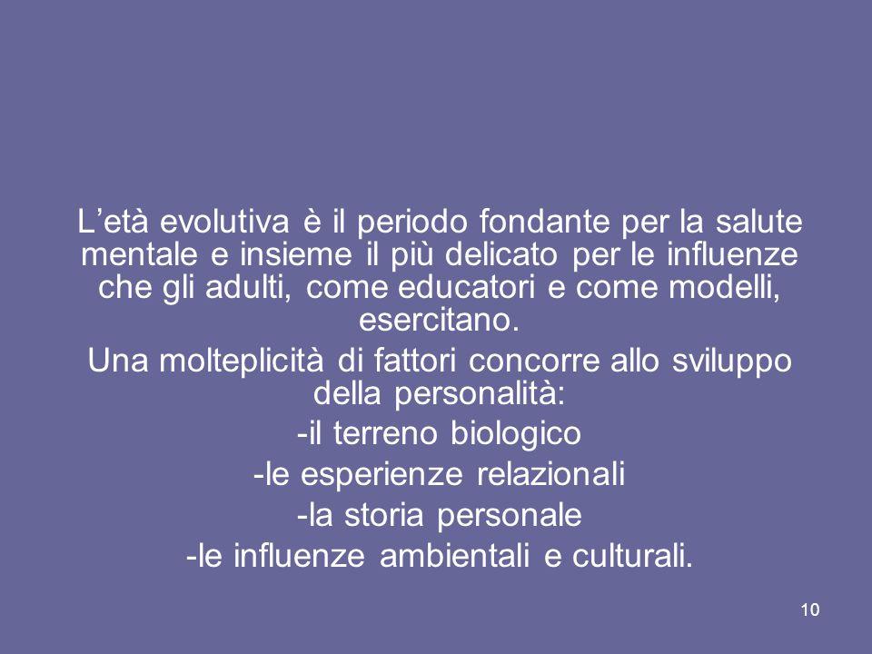10 L'età evolutiva è il periodo fondante per la salute mentale e insieme il più delicato per le influenze che gli adulti, come educatori e come modell