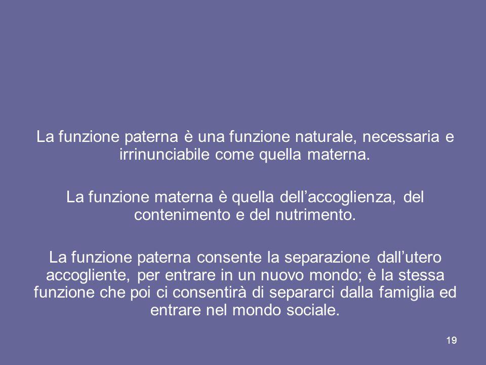 19 La funzione paterna è una funzione naturale, necessaria e irrinunciabile come quella materna. La funzione materna è quella dell'accoglienza, del co